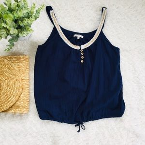 just ginger Tops - 🌵Just Ginger Navy Sleeveless Top Tie Front Center